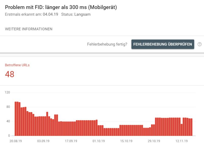 Search Console Bericht: Geschwindigkeit - Probleme mit FCP oder FID werden erkannt.