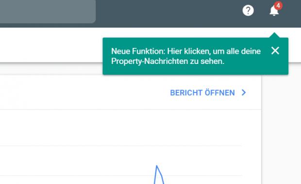Eine Glocke zeigt uns in der Google Search Console, wenn neue Nachrichten vorhanden sind.