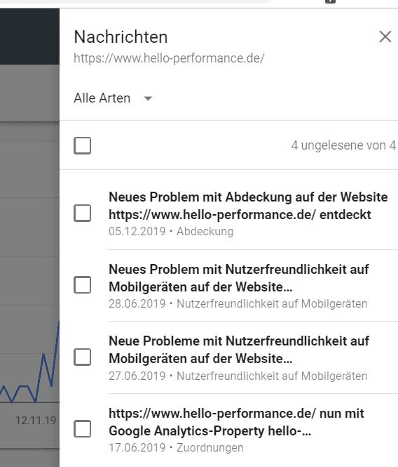 Nachrichten in der Google Search Console sind jetzt sinnvoll kategorisiert.