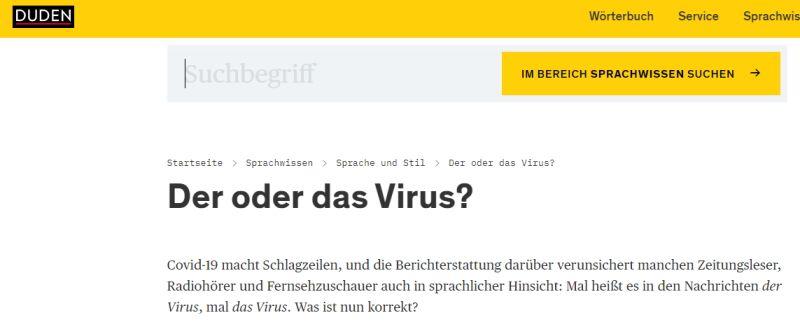 Heißt es der oder das Virus? In Zeiten von Corona hat der Duden seinen Artikel aktualisiert.