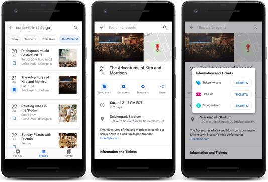 Beispiel für Ansicht von Events in der Google-Suche.