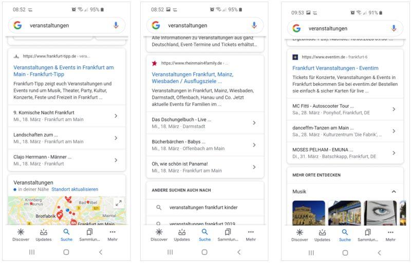 Events und Veranstaltungen werden in den Google-Suchergebnissen nicht als abgesagt, verschoben oder virtuell gekennzeichnet.
