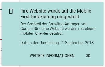 Benachrichtigung in der Google Search Console: Umstellung auf den mobile first index.
