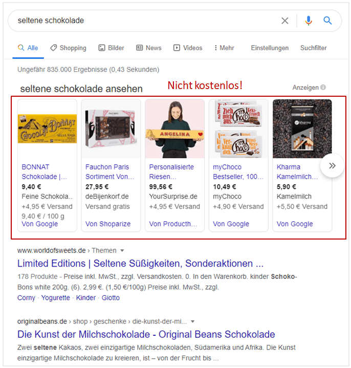 Google Shopping wird kostenlos? Nur fast. Die prominenten Plätze sind nach wie vor kostenpflichtig.